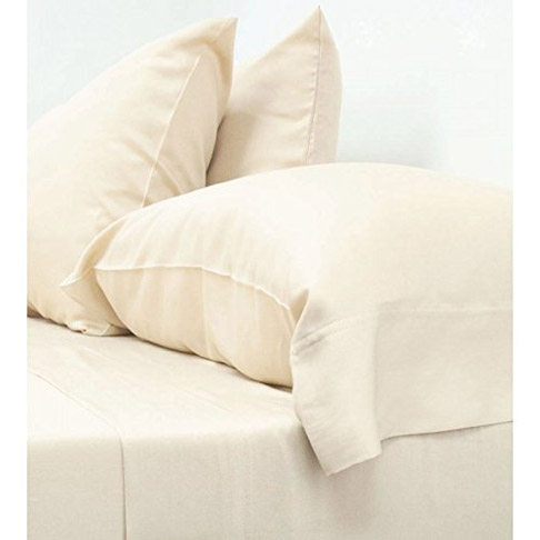 3. Cariloha Full Ivory 4 Piece Bed Sheet Set