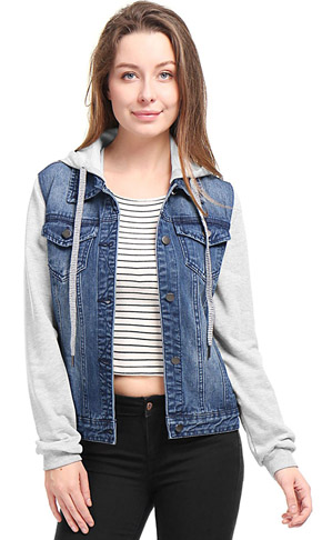 9. Allegra K Hooded Denim Jacket -