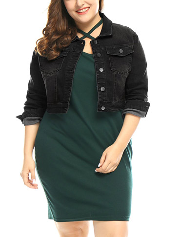 7. Agnes Orinda Plus Size Cropped Jacket -